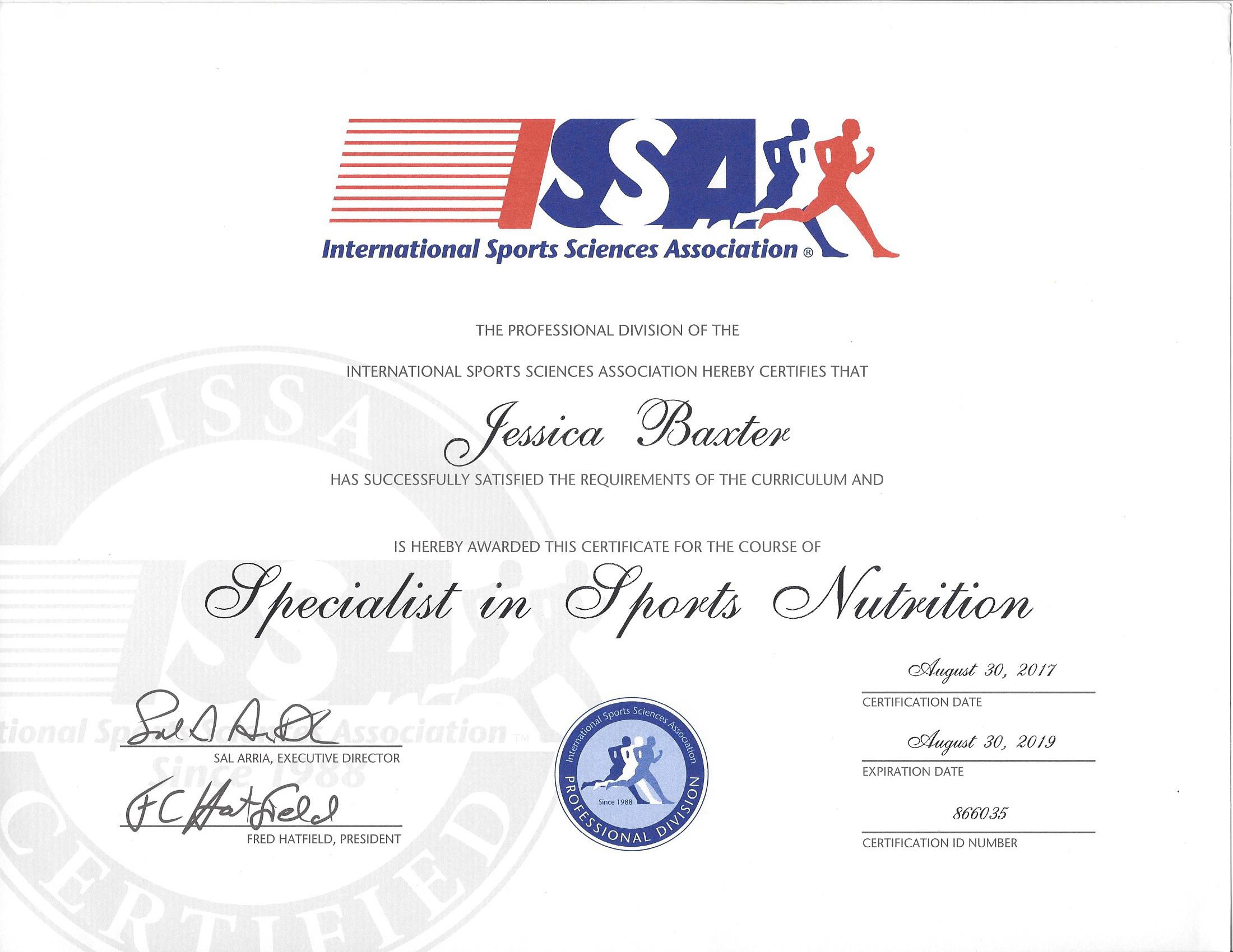 Certified Specialist in Sports Nutrition